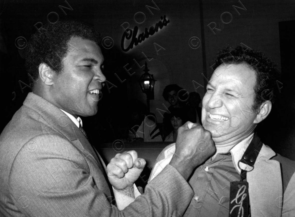 BEVERLY HILLS, CA - MARCH 29:  Muhammad Ali and Ron Galella sighted on March 29, 1981 at Chasen's Restaurant in Beverly Hills, California. (Photo by Ron Galella/WireImage)